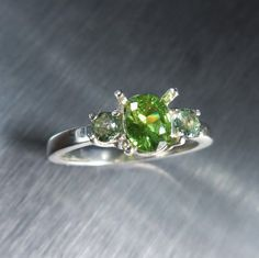 0.50ct Natural Demantoid Garnet & green sapphires 925 by EVGAD