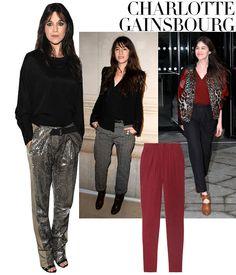 La Femme: Charlotte Gainsbourg    Pièce de Résistance: The Slouchy Pant    Isabel Marant georgette pants, $525, net-a-porter.com.