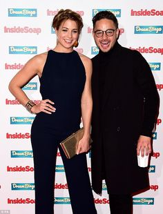 Firm friends: Gemma posed with her co-star Adam Thomas who plays Adam Barton in the ITV soap Inside Soap, Hair Inspiration, Fashion Inspiration, Soap Awards, Gemma Atkinson, Backless Jumpsuit, Latex Dress, Carp, Plays