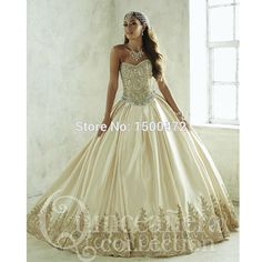 2017 Cheap Quinceanera Dresses Ball Gown Satin Crystals Beaded Fluffy Champagne Detachable Gowns Sweet 16 vestidos de 15 anos