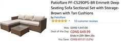 Amazon Canada Deals Of The Day: Save 52% on Patioflare Emmett Deep Seating Sofa Sectional Set with Storage https://www.lavahotdeals.com/ca/cheap/amazon-canada-deals-day-save-52-patioflare-emmett/313122?utm_source=pinterest&utm_medium=rss&utm_campaign=at_lavahotdeals&utm_term=hottest_12