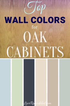 "The Best Wall Colors for Oak Cabinets When choosing a wall paint color it is important to remember that honey oak cabinets bring more of a ""color"" to a kitchen than other wood cabinets. And the color they bring is orange. Your job in choo Best Wall Colors, Best Paint Colors, Wall Paint Colors, Paint Colors For Home, Cabinet Paint Colors, House Colors, Paint For Kitchen Walls, Kitchen Paint Colors, Bathroom Paint Colors"