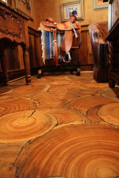 Wood Floor of the Year 2014: No planks, tree slices instead. This is a different way to use wood for flooring. Interesting!