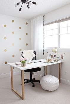 Gold and Girly Home Office by justbellablog, via Flickr