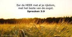 Spreuken 3:9 - Bijbeltekst van de dag - DailyVerses.net