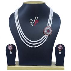 3 Lines Rich Pearl Necklace Set in Semi Precious Ruby Pendant