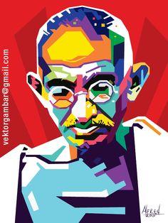 WPAP TOKOH TERKENAL DUNIA MAHATMA GANDHI Pop Art Portraits, Portrait Art, Mahatma Gandhi Photos, Vector Portrait, Portrait Illustration, Peacock Quilling, Classroom Passes, Fantasy Art, Modern Art