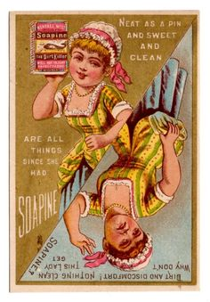 Soapine Victorian Advertising Card Before and After, With and Without, Chromo #Soapine