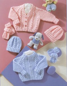 This PDF Knitting Pattern is for 2 Babys Cardigans and Hats and Mittens. Knitted in DK wool. To fit premature sizes from a 12 to 22 inch (30-56 cm) chests. Your PDF pattern will be available as an instant download when you pay. All of our patterns are water marked but are still very easy to read.