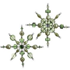 Green Beaded Snowflake Ornament