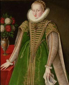 Portrait of Maria Christina of Austria - She was the daughter of Charles II of Austria and Maria Anna of Bavaria. She married Sigismund Bathory, but their marriage was annulled in Elizabethan Clothing, Elizabethan Costume, Elizabethan Fashion, Elizabethan Era, Renaissance Mode, Renaissance Fashion, Renaissance Dresses, Elizabeth Bathory, Historical Costume