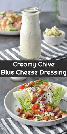 Creamy Chive Keto Blue Cheese Dressing | Peace Love and Low Carb via @PeaceLoveLoCarb