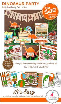 Fiesta de cumpleaños de dinosaurio | Fiesta de dinosaurios para imprimir | Decoraciones de cumpleaños de dinosaurio | Favor de fiesta de dinosaurio | Partes de Amanda para ir