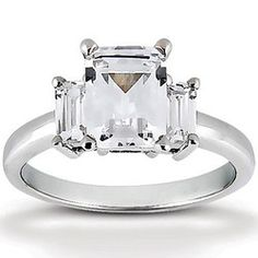 Emerald Cut Prong Set Diamond Engagement Ring (0.66 ct.tw.)