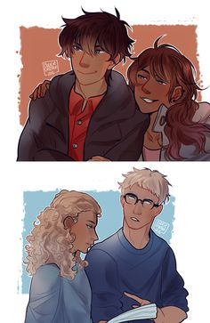 I love how Percy and Piper are definitely up to something shady while Annabeth and Jason are all serious and thoughtful