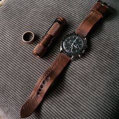 """Omega Speedmaster 3592.50 paired with a Bas and Lokes """"Jack"""" handmade leather brown watch strap.  Available at www.BasAndLokes.com"""