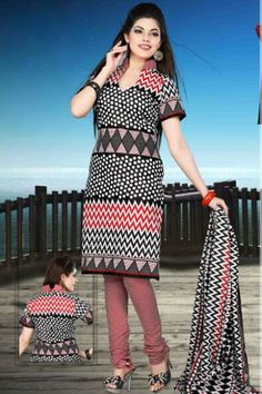 Black and Off-white Cotton Printed Casual and Party Churidar Kameez Sku Code:372-4333SL895558 $ 40.00