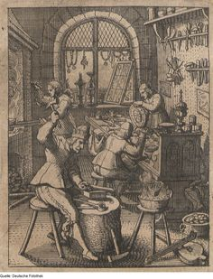 A goldsmith workshop during the mid-seventeenth century