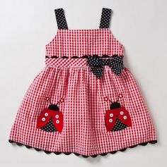 Toddler Lady Bug Dress! She'll be the loveliest of little ladies in this fetching frock! Was too cute not to pin!