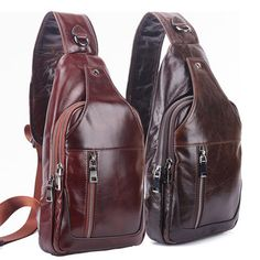 Men Business Genuine Leather Chest Bag Shoulder Bags Crossbody Bags is worth buying - NewChic Mobile version. Leather Backpack, Leather Wallet, Leather Shoulder Bag, Shoulder Bags, Cheap Crossbody Bags, Latest Bags, Casual Bags, Men Casual, Leather Men