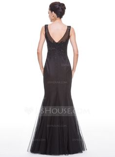 Trumpet/Mermaid V-neck Floor-Length Tulle Evening Dress With Beading Appliques Lace Sequins (017056504) - JJsHouse