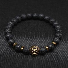 Leo | Lava Stone Bead Bracelet - Gold