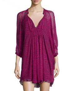 T9KTG Diane von Furstenberg Fleurette Silk Chiffon Dress, Dotted Snake Pink