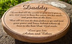 A lovely oak memorial plaque cut as an oval with the wording laser engraved. The font is amaze. Size 300 x 225mm, ref 1310.LW.020 www.sign-maker.net/engraved/engraved-wooden-oval-plaques.html