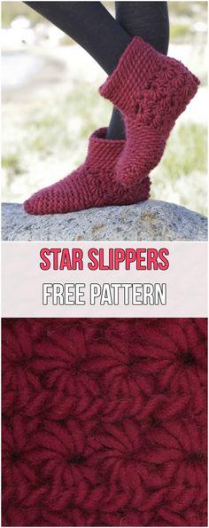 Star Slippers Free Pattern #crochet #slippers #crochetlove #freepattern