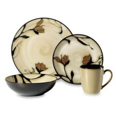 Dinnerware utilizes gold and black flowers that add elegance to your everyday or casual entertaining dining. High quality stoneware goes with any home decor.