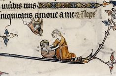 Mary gives Baby Jesus a bath in Bodleian MS Douce 118 Medieval Life, Medieval Fashion, Medieval Art, Medieval Manuscript, Illuminated Manuscript, Historical Images, Historical Clothing, Nativity Painting, Renaissance