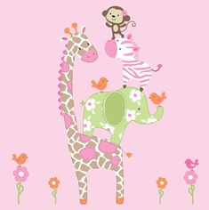 Girls Jungle Animals Decals - Vinyl Wall Art Decal Sticker. $59.00, via Etsy.