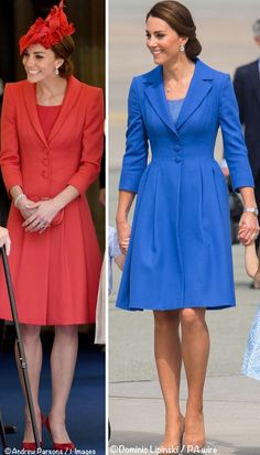 When seeing today's look many of us immediately thought of the red coat worn when leaving Canada in July 2011, seen again at Order of the Garter last year.  The primary distinction between the two: the lapels. The red coat has shawl lapels, while the blue has notch lapels.©