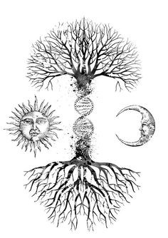 Dna Tattoo, Tattoo Drawings, Body Art Tattoos, Tree Sleeve Tattoo, Sleeve Tattoos, Cute Tattoos, Small Tattoos, Bonsai Tattoo, Yggdrasil Tattoo