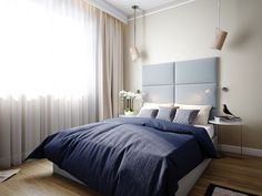 Build Dreams In Small Apartment Interior Decorating: modern small apartment bedroom interior decorating with blue headboard and brown comfor...