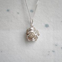 Rose Pendant Silver Necklace