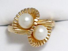 Vintage 10k yellow gold two  pearl ring band by 24k18k14k10kgold, $102.00