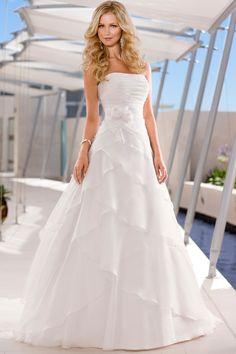 Prinzessin Organza Satin Pinsel-Schleppe bezauberndes trägerloses Brautkleid (Schleppe kürzer / zum binden)