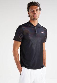 Nike Performance. DRY - Sportshirt - black/black/pure platinum. Materiaal buitenlaag:100% polyester. Halslijn:henleykraag. materiaalverwerking:jersey. Totale lengte:75 cm bij maat M. Mouwlengte:korte mouwen. Lichaamslengte model:Ons model is 188 cm groot en dra...