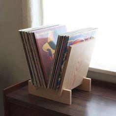 Stand Record LP dans plein de sapin Douglas par LLTTgoods sur Etsy