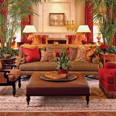 Traditional Living Room. Needs one less plant.