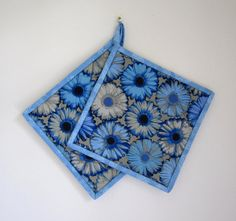 Quilted Potholders Blue Gerbera Fabric Hotpads by ISewTotes
