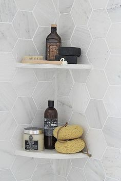 Modern Gray - Shower Organization - Hexagon Tile - Bathroom Ideas - Kitchen Design —I like the tiles shape, but I also like the corner shelves Upstairs Bathrooms, Laundry In Bathroom, Bathroom Renos, Bathroom Interior, Bathroom Ideas, Bathroom Grey, Bathroom Modern, Kitchen Modern, Bathroom Wall