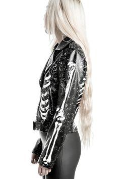 MORGUE. Bare Yer Bonez. - Luxe A+ Grade Vegan Leather.- Digital Bone-Prints.- Zipped Front.- Lined.- Constructed Fit. 'Gimme Bones' biker jacket with contrasti