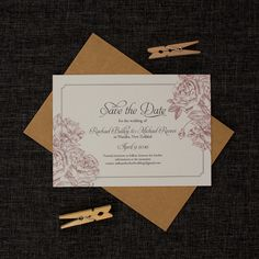 beautiful rose gold and grey wedding save the date cards
