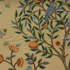 Kelmscott Tree Fabric - Russet/Forest (230341) - William Morris & Co Archive Embroideries Collection