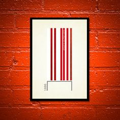 True Colours - 'Arsenal' A3 Football Print in red and white on ivory background.