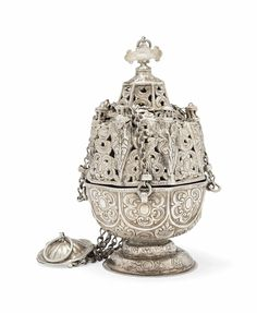 AN ECCLESIASTICAL SILVER INCENSE BURNER - OTTOMAN TURKEY OR PROVINCES, 19TH CENTURY... Another gem of an incense burner...I prefer the silver ones...I like the cross on the lid dome...L.
