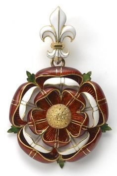 A Gold & Enamel Pendant by Robert Phillips in the form of the Tudor Rose, executed in red and white enamel, highlighted with stylised green enamel leaves which radiate from the back, the whole suspended from a white enamel Fleur de lys. Renaissance Jewelry, Victorian Jewelry, Antique Jewelry, Vintage Jewelry, Victorian Gold, Rose Tudor, Enamel Jewelry, Fine Jewelry, Jewelry