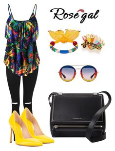 """""""Rosegal set"""" by just-a-dizzy-lizard ❤ liked on Polyvore featuring Topshop, Stuart Weitzman, Rosantica, Gucci, Givenchy and ban.do"""